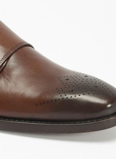 D by Divarese Çift Tokalı Klasik Deri Ayakkabı Kahve
